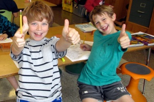 9-24-13 Thumbs up for third graders on Hokki stools